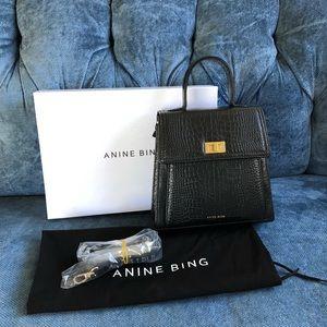 Anine Bing Katya Black Croc Leather Bag